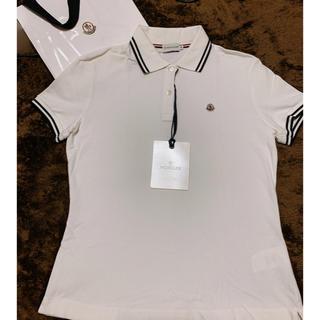 モンクレール(MONCLER)の【MONCLER】 ポロシャツ Mサイズ モンクレール ホワイト 即発送可能!(ポロシャツ)