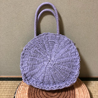 シマムラ(しまむら)の新品○しまむら かごバッグ 紫 パープル サークルバッグ  カゴバッグ インスタ(かごバッグ/ストローバッグ)