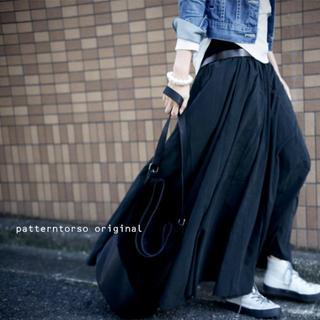 アンティカ(antiqua)の【antiqua】ボリューム ロング フレア スカート ブラック 【アンティカ】(ロングスカート)