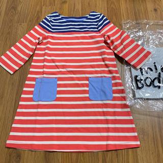 ボーデン(Boden)の新品 mini boden ポケット付ボーダーワンピース 七分袖 5-6 120(ワンピース)