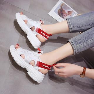 スポーツサンダル ホワイト&レッド 厚底 韓国ファッション(サンダル)