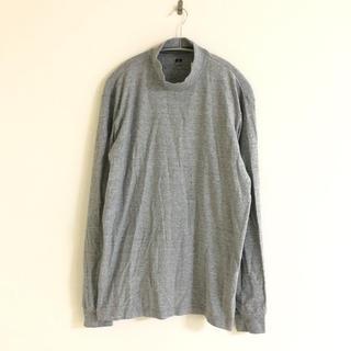 ユニクロ(UNIQLO)のユニクロ MEN ソフトタッチハイネックT 長袖 グレー L UNIQLO(Tシャツ/カットソー(七分/長袖))