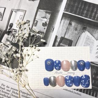 #018 ネイルチップ/さくらんぼ/くすみブルー/ガーリーネイル(つけ爪/ネイルチップ)