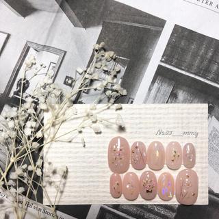 #019 ネイルチップ/押し花ネイル/ニュアンスネイル/ガーリーネイル(つけ爪/ネイルチップ)
