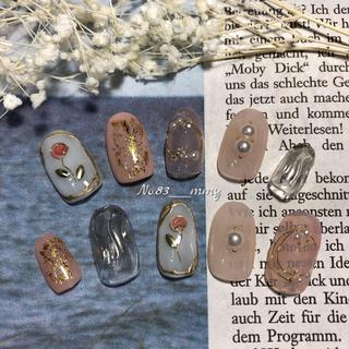 #024 ネイルチップ/ニュアンス/パール/ワイヤー/薔薇/うねうね/ガーリー コスメ/美容のネイル(つけ爪/ネイルチップ)の商品写真