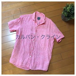 カルバンクライン(Calvin Klein)の美品カルバンクライン半袖リネンシャツレッド(シャツ)