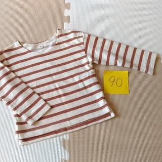 ムジルシリョウヒン(MUJI (無印良品))の無印良品レンガ色ボーダー長袖トップス80(Tシャツ)