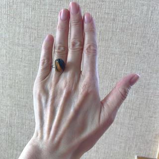ビンテージ  silver天然石 ゴールドタイガーアイ 指輪(リング(指輪))