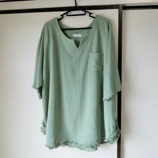 3L 大きいサイズ グリーン系裾フリンジチュニック(チュニック)