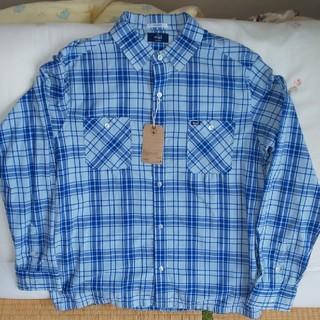 ダブルタップス(W)taps)の新品WTAPSチェックシャツ水色×青XL(シャツ)