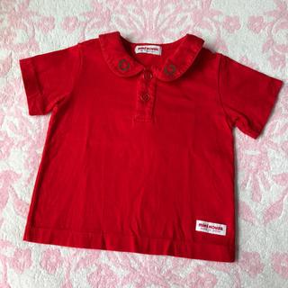 ミキハウス(mikihouse)のミキハウス♡ ロゴ刺繍 襟つき 半袖 シャツ 赤 80cm 日本製(シャツ/カットソー)