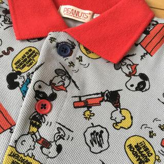 スヌーピー(SNOOPY)の70 スヌーピー 半袖 ロンパース ウッドストック コミック柄 ポロシャツ(ロンパース)
