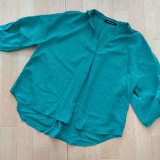シマムラ(しまむら)のしまむら スキッパーシャツ グリーン(シャツ/ブラウス(半袖/袖なし))