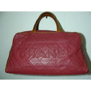 シャネル(CHANEL)のCHANELシャネルレザーパテントキルティングボストンハンドバッグスポーツロゴ鞄(ボストンバッグ)