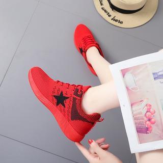 スポーツシューズ レッド メッシュシューズ カジュアル 韓国ファッション 軽量(スニーカー)