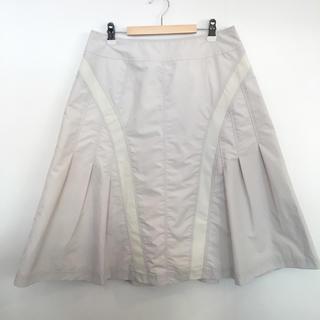 ヒロコビス(HIROKO BIS)のヒロコビス 無地 フレアスカート ギャザースカート 白 (ひざ丈スカート)
