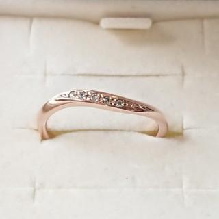 ヨンドシー(4℃)の正規品 4℃ k10 PG ダイヤモンド 5P リング 8号(リング(指輪))