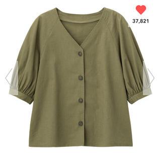 GU - リネン五分袖シャツ