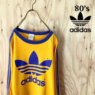 アディダス(adidas)の80's adidas ビッグトレフォイル レイカーズカラー クラッシュ ロンt(Tシャツ/カットソー(七分/長袖))