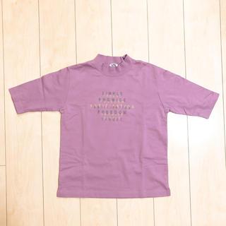 プチハイネック プリント 英字ロゴ Tシャツ(Tシャツ(半袖/袖なし))