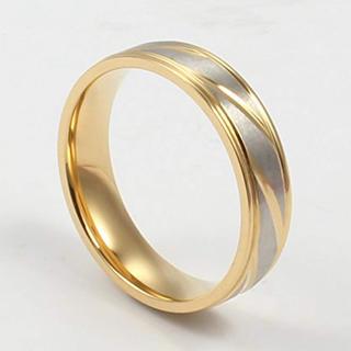 新品 Rockyu ジュエリー メンズ リング 指輪 チタン ゴールド 22号(リング(指輪))