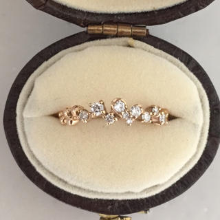美品 K18 ピンクゴールド ダイアモンド リング ハート 0.19ct(リング(指輪))