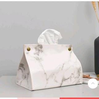 フランフラン(Francfranc)の大理石柄 ティッシュカバー白色ティッシュケースモノトーンインテリア(ティッシュボックス)