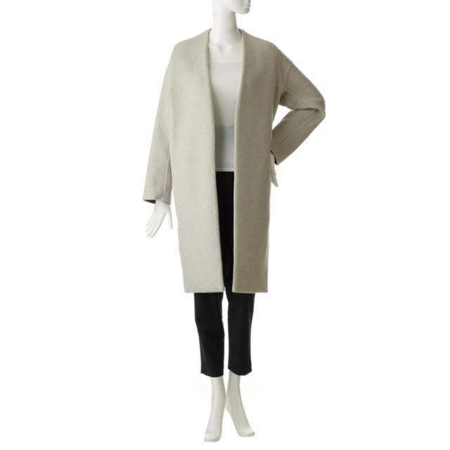ENFOLD(エンフォルド)のenofldウールリバーノーカラーコート レディースのジャケット/アウター(ロングコート)の商品写真