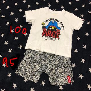 アベイシングエイプ(A BATHING APE)の週末セール 100 アベイシングエイプ Tシャツ ズボン コーデセット(Tシャツ/カットソー)