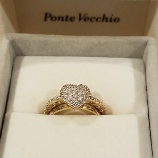 ポンテヴェキオ(PonteVecchio)のポンテヴェキオ ハートダイヤリング 18Kピンクゴールド(リング(指輪))
