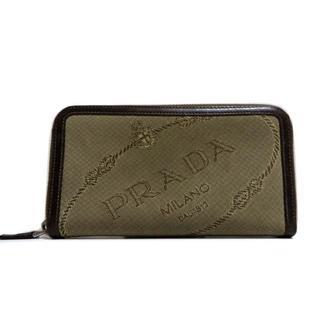 7a35411717fb プラダ(PRADA)のプラダ ロゴ ジャガード×レザー ラウンドファスナー 長財布 1M0506(