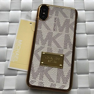 a5e6fcd315 マイケルコース(Michael Kors)の箱なし iPhoneX XS アイボリー 金縁モノグラムハードケース