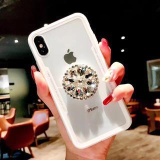 7a2d5fead5 値下げ iPhoneX/XS専用ケース クリア ビジュー リング付き (iPhoneケース)