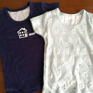 ニシマツヤ(西松屋)のネイビーお家&水色シロクマ半袖Tシャツ2枚セット80(肌着/下着)