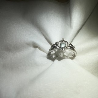 K18(ホワイトゴールド)アクアマリンor天然ダイヤ ティアラリング(リング(指輪))