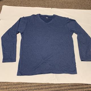 ユニクロ(UNIQLO)のユニクロ Vネック カットソー メンズ 青 秋冬(Tシャツ/カットソー(七分/長袖))