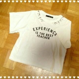 ミスティウーマン(mysty woman)のmysty woman♥ビジュー付きロゴTシャツ(Tシャツ(半袖/袖なし))