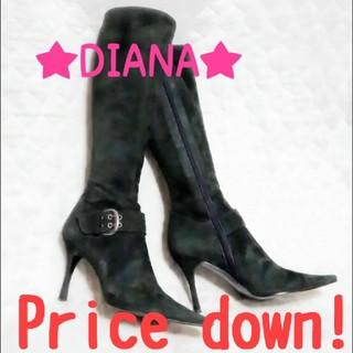 ダイアナ(DIANA)のDIANA 24cm スエード ロングブーツ ベルトデザイン ダークグリーン(ブーツ)
