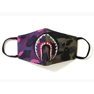 A BATHING APE - BAPE HALF CAMO SHARK MASK