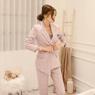 グレースコンチネンタル(GRACE CONTINENTAL)のインポート♡結婚式♡ピンクチェックセットアップ♡スーツ(スーツ)