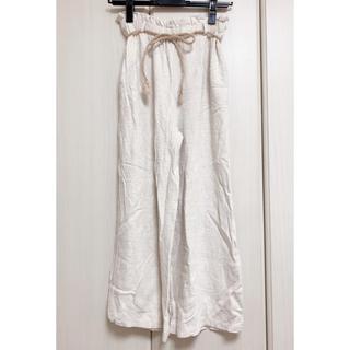 【麻のワイドパンツ】 ガウチョパンツ ロングスカート(カジュアルパンツ)