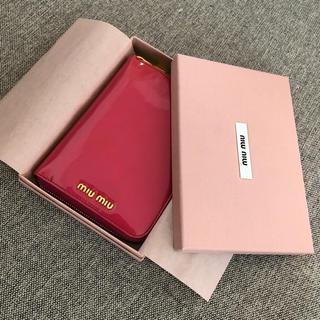 ミュウミュウ(miumiu)のmiumiu 手帳 エナメル ピンク ツートンカラー(手帳)