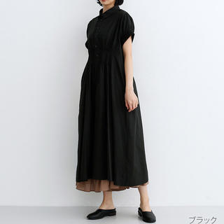 メルロー(merlot)の MERLOT IKYU ピンタックいっぱ コットンワンピース ブラック(ロングワンピース/マキシワンピース)