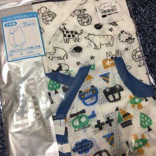 ニシマツヤ(西松屋)の新品 50〜60サイズ 新生児 ノースリーブ 打ち合わせ ロンパース 肌着 下着(肌着/下着)