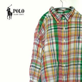 ラルフローレン(Ralph Lauren)の古着☆人気 ラルフローレン チェックボタンシャツ ワンポイントポニー 古着女子(シャツ)