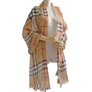 バーバリー(BURBERRY)のBURBERRY 70×220cm ウール×シルク混チェック柄スカーフ 大判(バンダナ/スカーフ)