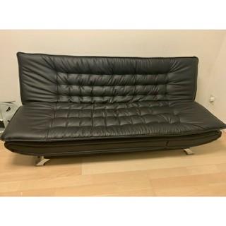 ニトリ(ニトリ)のNシールドレザーソファーベッド+黒ガラステーブルセット(ソファベッド)