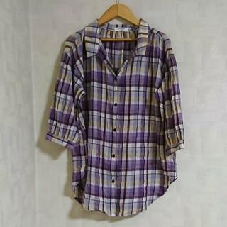 サマンサモスモス(SM2)の*美品*SM2 blue チェック柄ロングシャツ(シャツ/ブラウス(長袖/七分))