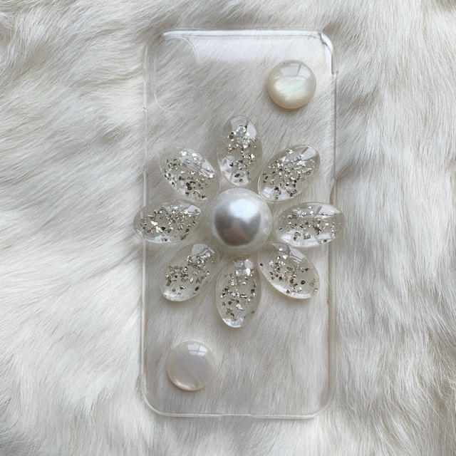 iPhone case___clear big flower ハンドメイドのスマホケース/アクセサリー(スマホケース)の商品写真