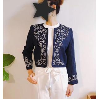 サンローラン(Saint Laurent)のイヴサンローラン ジャケット 刺繍 リネン 麻 セレブ おしゃれ(ノーカラージャケット)